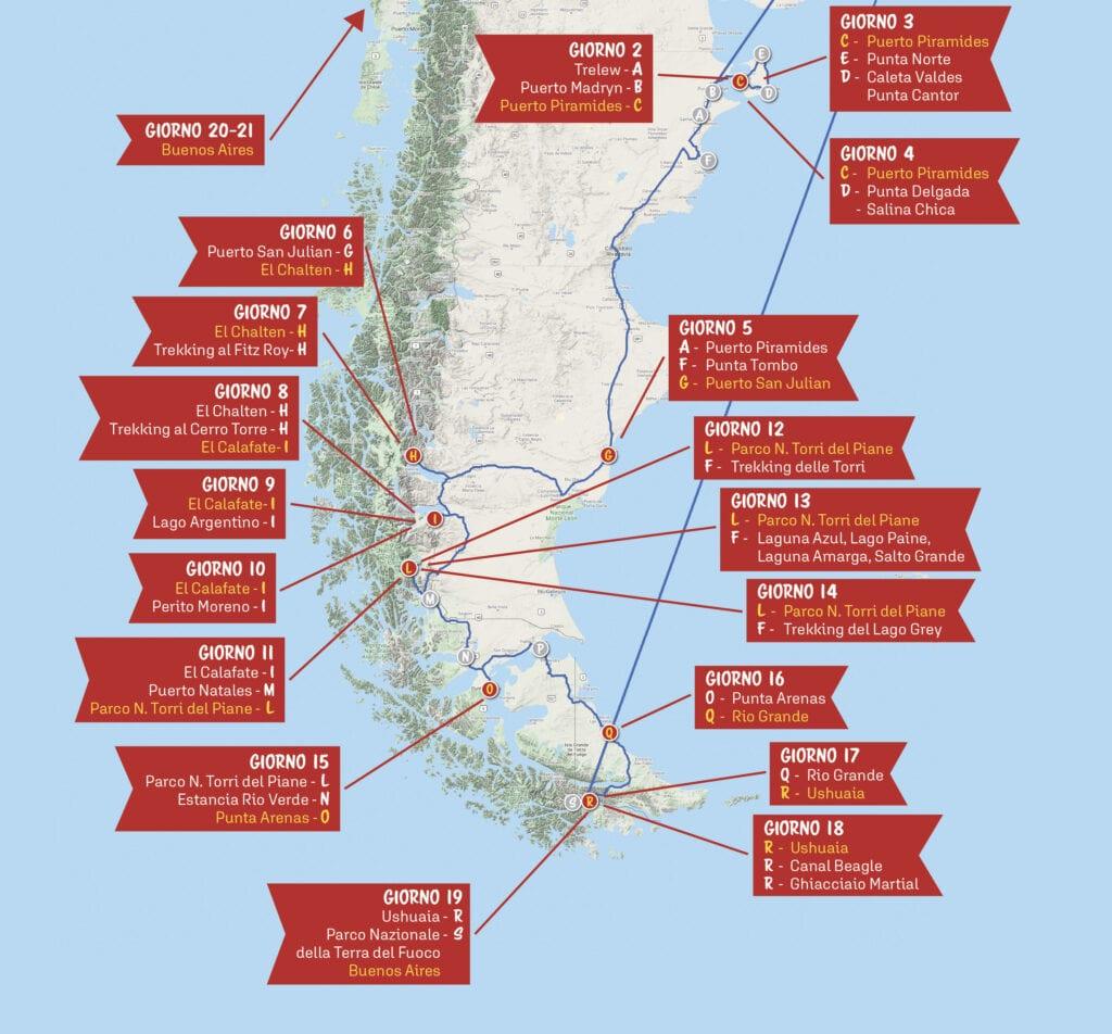 Mappa Viaggio in Patagonia