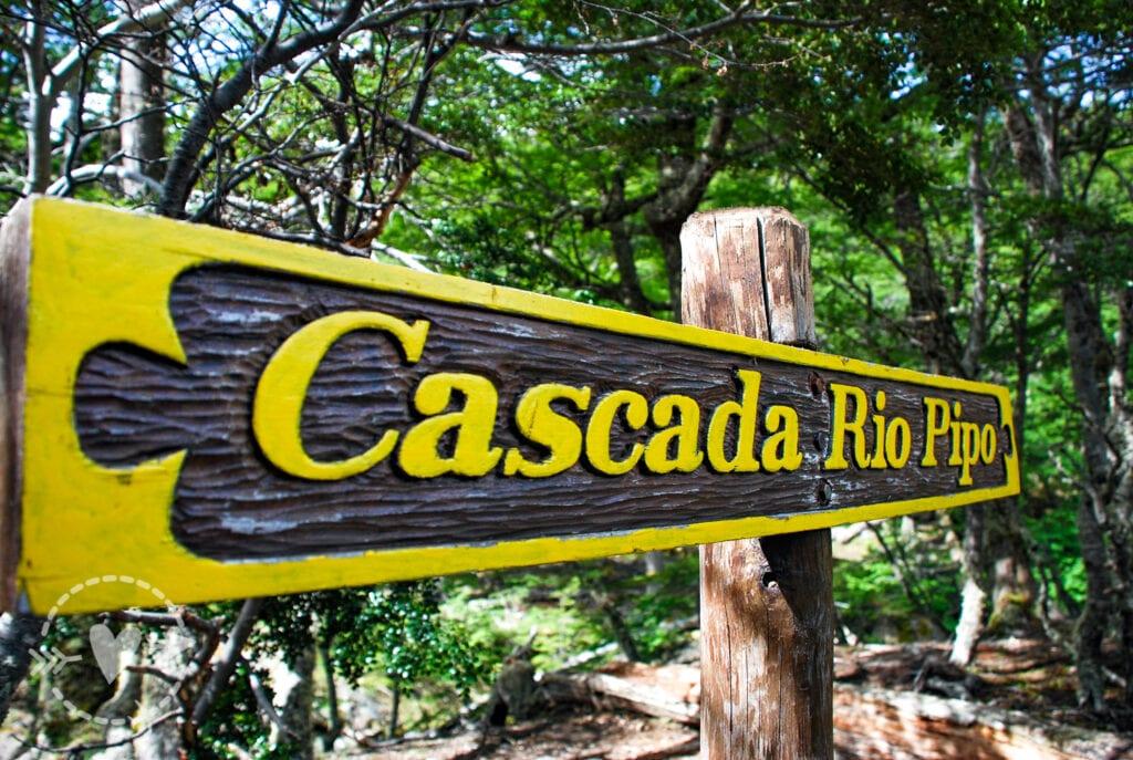 Cartello cascata rio pipo, parco Nazionale della Terra del fuoco