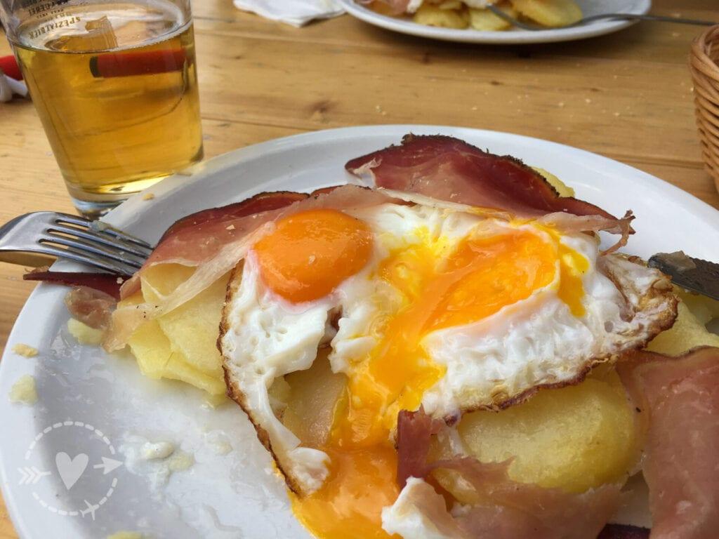 Uova speck e patate al rifugio Antermoia
